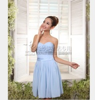 New Arrivals Short Light Blue Bridesmaid Dresses Toast Clothing Bride Dress Cheap Clothing With Belt Bridesmaid Clothing