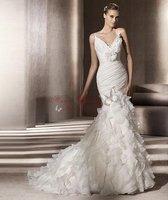 Sexy Mermaid Pleat V-Neck Organza Wedding Dresses Bridal Dress With Court