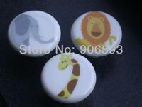 12pcs lot free shipping Porcelain sweet lionet cartoon cabinet knob\furniture handle\drawer knob
