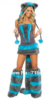 Sexy Carnival Costumes New Fashion Sexy Cheshire Cat Corset Costume lingerie&Deluxe Blue Cheshire Cat Costume