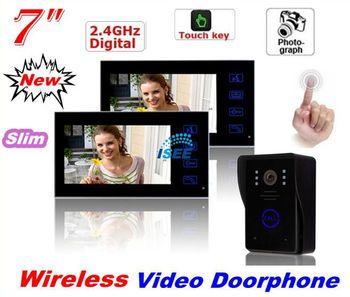 Thanksgiving  Wireless 2.4G 7 Inch Digital Lcd Ir Camera Video Door Phone Intercom System 1V2 Touch Key Free Shipping EMS
