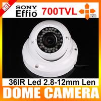 "1/3"" Sony Effio-e CCD 700TVL WDR BLC NR 36IR Led 2.8~12mm Vandal-proof CCTV Security Dome The Camera With OSD Menu"