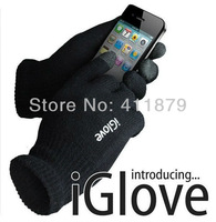 Iglove Unisex Touch Screen Knit Glove Hand Warm for iPhone smartphone one size (Black ,pink)