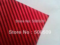2012 3D Carbon DESIGN / Red Chrome 3D Vinyl Wrap Car Sticker Film / Size 1.52 x 30 Meter / FREE SHIPPING