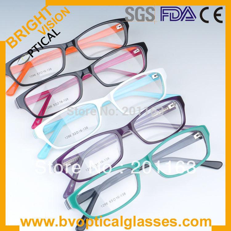 Free shipping hot sales high quality optical glasses 1296 acetate RX eyeglasses(China (Mainland))