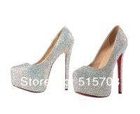 Sparkling Stiletto 16cm Ultra High Heel Pumps Leather Rhinestone Bridal Wedding Prom Party Womwn Dress Shoes