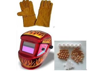 free shipping solar auto-darkening welding helmet & welding glove & PT31 consumables 60 pcs