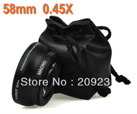 Free shipping HK Post 58mm 0.45X  Professional Wide Angle + Macro Conversion Lens 58mm for Nikon Canon Sony