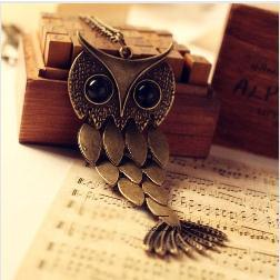 wholesale Fashion High quality retro cute hollow big black eyes owl necklace Statement  jewelry women 2014 free shipping PT33