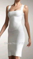 Free Shipping HL Bandage White Dress 2013 New fashion Auto Show Models Vest Dress Strapless sexy evening dress