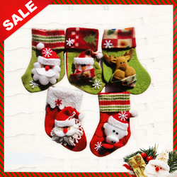 Free shipping, fabric Christmas socking, santa sock, decorations,Christmas gifts, santa snowman and reindeer pattern(China (Mainland))