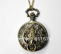Min.order $10 (mix order) antique bronze wolf pocket watch necklace