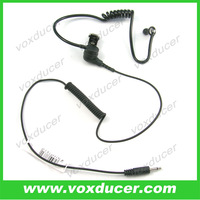 Black tube headset Listen only earpiece with 2.5mm jack plug for walkie talkie speaker mic