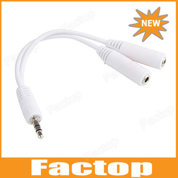 $10 off per $300 order 3.5mm male Headphone Earphone Y Splitter Adapter Cable to 2 female Jack, Y splitter cable