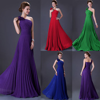 Free Shipping Grace Karin One Shoulder Long Colorful Elegant Ladies Pleated Party Gown Ball Prom Formal Evening Dress CL3467