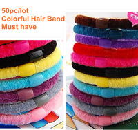 2014 Wholesale 50 Pcs/Lot Colorful Hair Elastic Ties Ponytail Holder Ponies Band Scrunchies Girl Women Hair Accessories