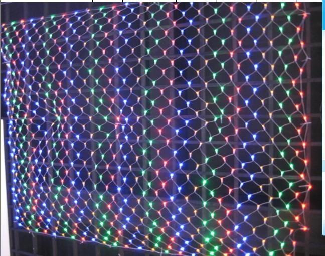 Free shipping 110V / 220V 3pcs 2*3 M 210 LED Net Light , White Blue Multi / RGB, Fairy Decoration For Christmas Wedding Party(China (Mainland))