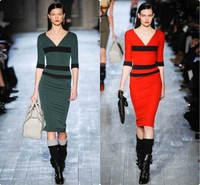Free Shipping Women Ladies Fall Half Sleeve Vintage Red Stripe Patchwork V-neck Back Zipper Mid-Calf Pencil Bodycon Dress  S-XL