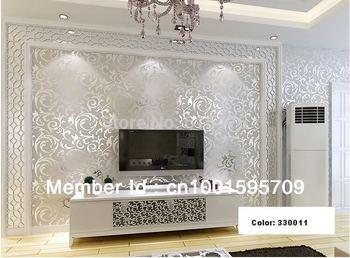 Sliver Netherland Victorian Damask/Embossed Wallpaper High Quality