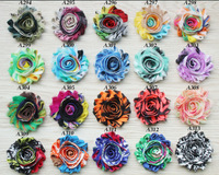 "2.5""  frayed shabby chiffon rose flower 75yds(10 bundles,108 prints for selection) DHL free shipping"