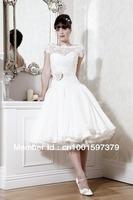 Elegant High Collar Short Chiffon/Lace Wedding Dress Bridal Gowns Custom Size