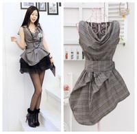 Free shipp Korean style 2014 fashion formal style slim plaid women one-pc plaid dress and 2pcs set (dress+skirt) available