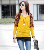 Mdash . casual women's batwing sleeve t-shirt patchwork leopard print A12323