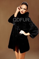 QD22246  2013Winter Woman  Fashion Genuine Mink Fur Coat With Hoody  Long Outerwear Dress Garment  Free shipping