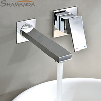 Free Shipping Modern Contemporary Single Handle In Wall Mounted Bathroom Solid Brass Chrome In wall Sink Basin Faucet Mixer-2421