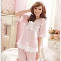2014 female sleepwear brand sweet pink silk fabric charm Sweet Dreams pajamas trousers and top,women home wear sets