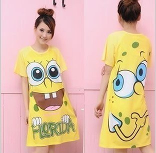 100% cotton short-sleeve T-shirt cartoon sleepwear lovely nightgown lounge maternity dress