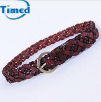 Unisex  Vintage Copper Genuine Leather Belt Use Knitted Fashion Braided Belts