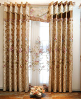 high quality elegant embroidery jacquard champagne color mercerized cotton curtain with silk bright,  and stereoscopic sense