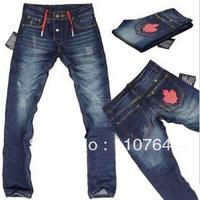 2014 DSQ jeans red drawstring back pocket logo men's low-waist straight blue washed jeans pants size 28~38