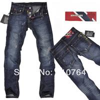2014 Men Brand D2 Winter / Autumn Jeans Fashion Button Fly & Leather Label Design Straight Scratch Blue Jeans for Men