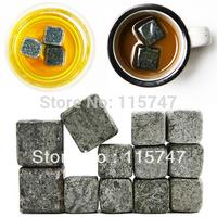 Free shipping! Whisky stones 6pcs/set +velvet bag, 100% natural, black whiskey rocks wine ice stone wholesale wine accessories