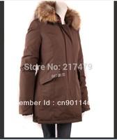 Woolrichs arctic parka woman fox fur goose down coat jacket slim fit brown beige 90 present white down coat