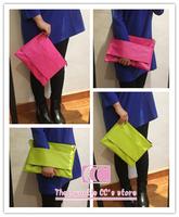 100% handmade clutch bag fashion vintage neon candy color (rose / green) zipper envelope bag women's handbags day clutches