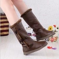Fashion winter female flat comfortable boots,medium-leg,low-heeled horn button fur boots free shipping