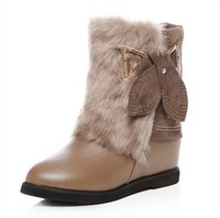 Fashion winter flat boots nubuck leather+ rhinestone +Within the higher women snow boots free shipping