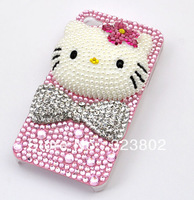 Bling Pink Cell Phone Back Case or Cover For iPhone 4 4s 5 5C 5S with Crystal Rhinestones Pearls and Hello Kitty Decoration