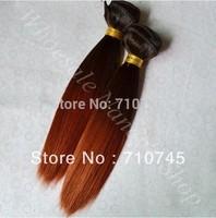 Tone two color 1b/350# 12inch 100% human hair silky straight weaving Peruvian Hair Weft 100g/PCS.