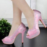 Princess pink crystal bridal shoes high heel wedding party shoes