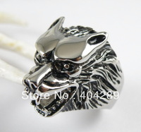 Wholesale 4pcs Punk Men's Stanless Steel Casting Wolf Werewolf Biker Rings Jewelry, Free Shipping