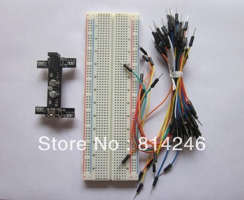 Free shipping,1pc 5V/3.3V Breadboard power module+1pc 830 point Breadboard+65pcs jumper wire