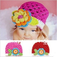Manual  retail cap new han children hand hat knitted cap rose pink and red can choose color