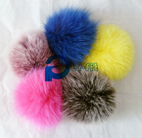 Fox fur charm D10cm soft fox fur ball charm fur pom free ship 45pcs per lot wholesale mixed colors