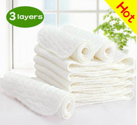 Free Shipping,10pcs/lot,3 layers 0 seconds absorb water High quality health cotton/Baby diaper/Baby nappy  Match Cloth Diaper
