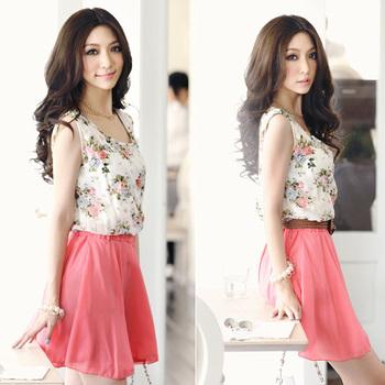 2015 Fashion Summer Dresses Women Ladies Female Sleeveless Floral Print Casual Chiffon Dress Tunic Clothing Free Shipping 0542