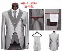 Men's 5 pieces Tailcoat high quality Men's Dress Suits,Charming Black/Silver/White Tuxedos,Size S-4XL